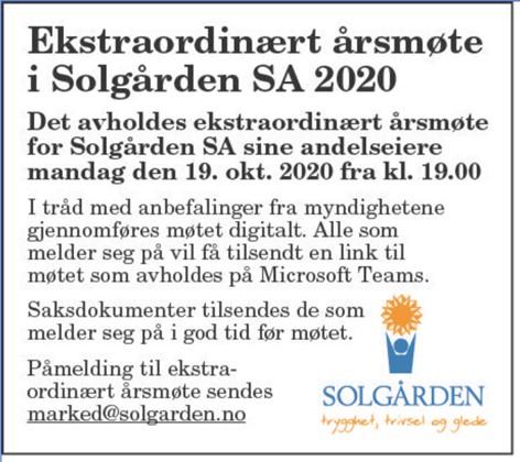 Ekstraordinært årsmøte i Solgården SA
